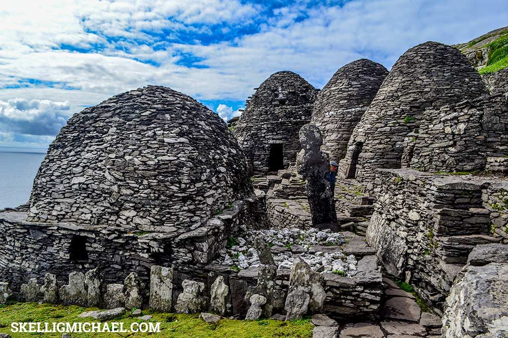 Skellig Michael Monastery looking back over monks cemetery