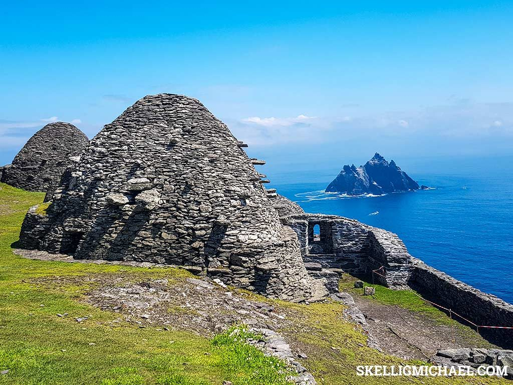 Skellig Michael Monastery with view of Small Skellig