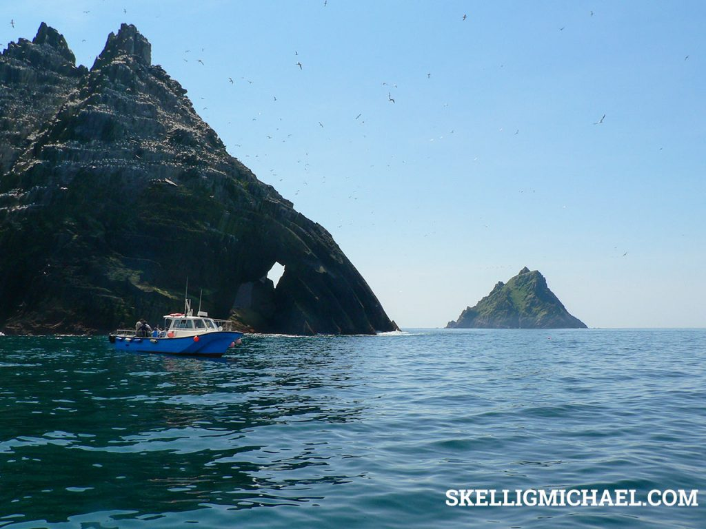 Small Skellig with view of Skellig Michael in background.